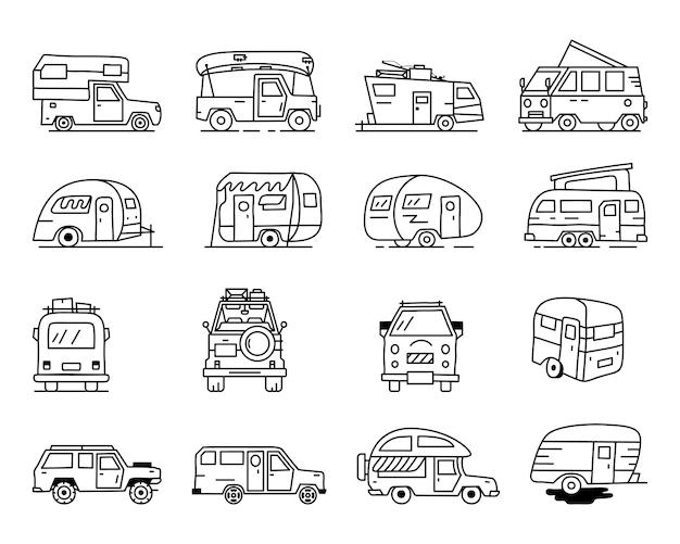 Vintage ręcznie rysowane przyczep kempingowych rekreacyjnych, ikony samochodów rv. prosta grafika liniowa. pojazdy kempingowe samochody dostawcze i przyczepy kempingowe symbole. wektor zapas na białym tle.