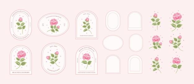 Vintage ręcznie rysowane różowa róża kwiatowy logo element kolekcji