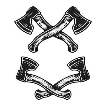 Vintage ręcznie rysowane skrzyżowane topory