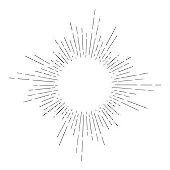 Vintage ręcznie rysowane sunburst. ilustracja wektorowa