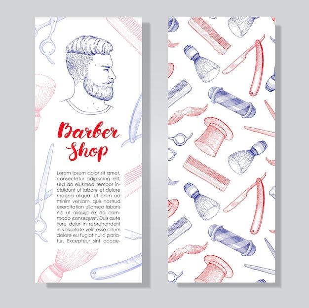 Vintage ręcznie rysowane ulotki firmy barber shop