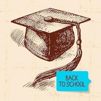 Vintage ręcznie rysowane z powrotem do ilustracji szkolnej