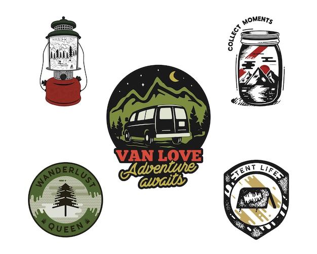 Vintage ręcznie rysowane zestaw emblematów podróży