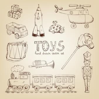 Vintage ręcznie rysowane zestaw zabawek: trąbka żołnierza bębna pociągu