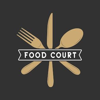 Vintage restauracja lub food court logo, odznaka i godło w stylu retro. ilustracja wektorowa