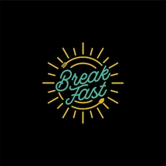 Vintage restaurant breakfast z logo widelec monoline