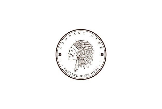 Vintage retro american native indian chief headdress logo design vector