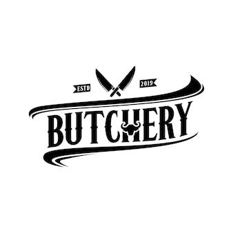 Vintage retro butcher shop label design logo ze skrzyżowanymi tasakami