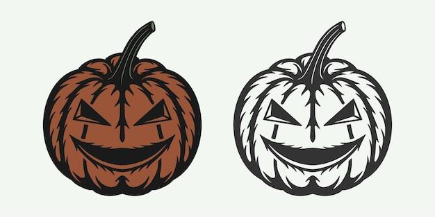 Vintage retro drzeworyt halloween przerażająca dynia może być używany jako etykieta z logo godła