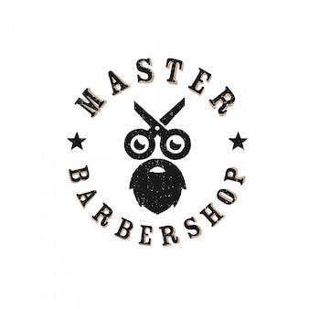 Vintage retro godło fryzjerskie logo premium