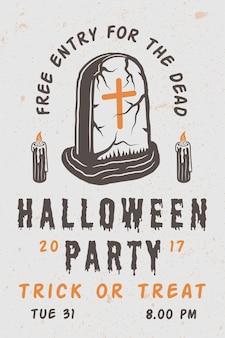 Vintage retro halloween straszny plakat z grobem. grafika monochromatyczna. ilustracja wektorowa.