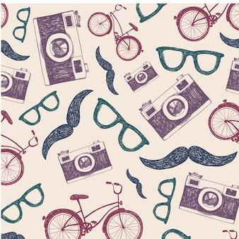 Vintage, retro hipster bezszwowe tło z rowerami, aparatami i okularami