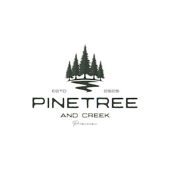 Vintage retro hipster sosna i wektor projektu logo wiecznie zielonego lasu rzeki lub potoku