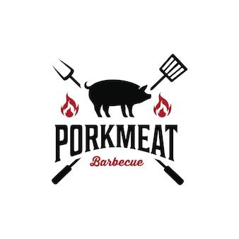 Vintage retro hipster wieprzowina farma mięsna rzeźnia logo sylwetka grilla