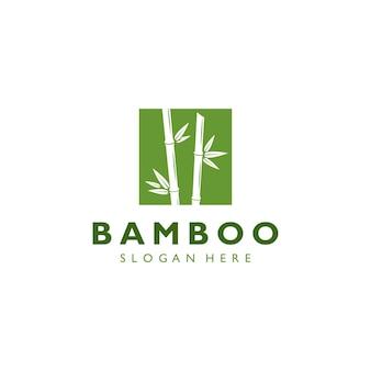 Vintage retro hipster zielony bambus logo szablon wektor