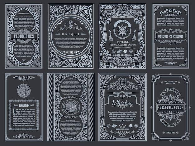 Vintage retro karty szablon linii kaligraficzne ramki