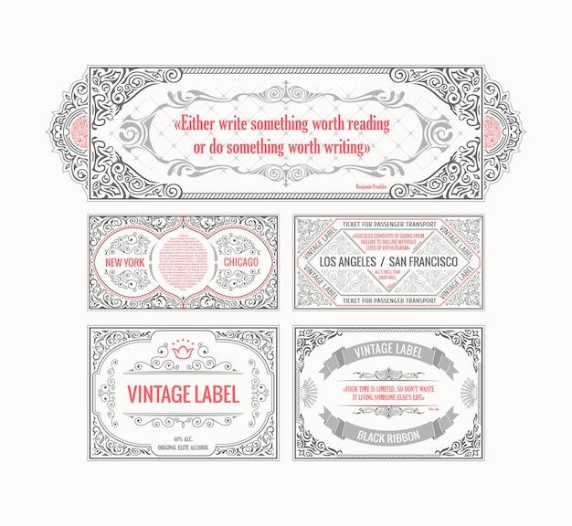 Vintage retro karty szablon linii kaligraficznych ramek