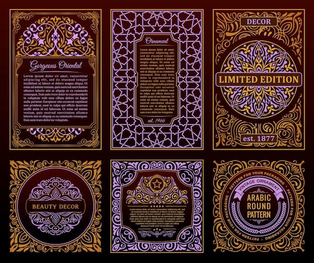 Vintage retro karty szablon zaproszenia ciemne ramki kaligraficzne