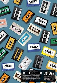 Vintage retro kaseta magnetofonowa plakat szablon ilustracji