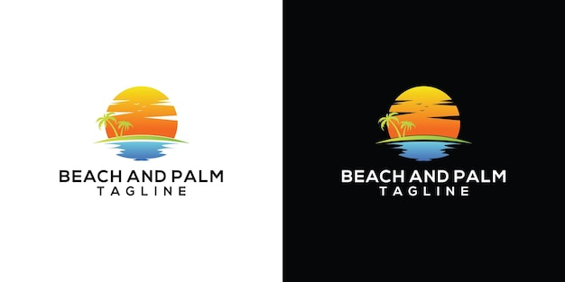 Vintage retro logo odznaki palmy i plaży