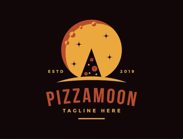 Vintage retro logo pizzy i księżycowej nocy