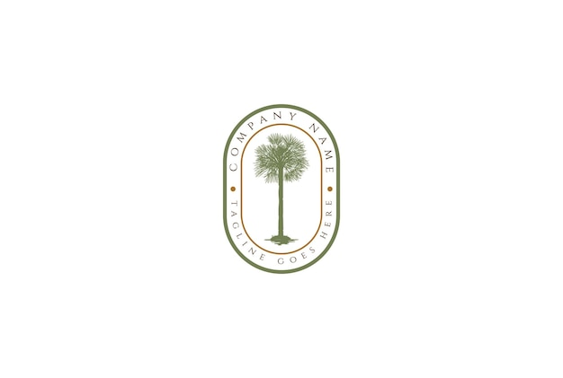 Vintage retro palm kokosowe drzewo etykieta odznaka godło naklejka logo projekt wektor
