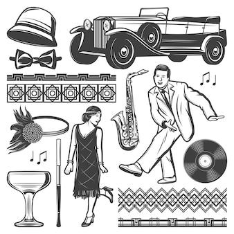 Vintage retro party elementy zestaw z tańczącym mężczyzną kobieta klasyczny samochód kobiece nakrycia głowy ustnik lampka winylu saksofon maswerki na białym tle