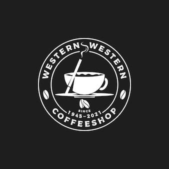 Vintage retro sylwetka kawiarnia emblemat etykieta znaczek logo pieczęć z ziarnami kawy i papierosem