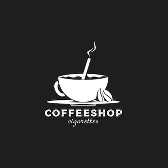 Vintage retro sylwetka logo kawiarni z ziarnami kawy i papierosem