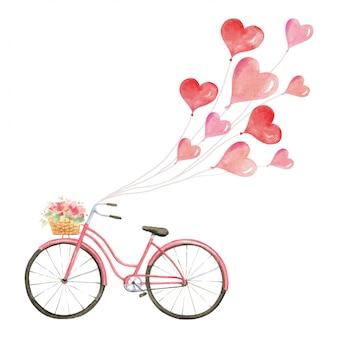 Vintage różowy rower z balonów miłości