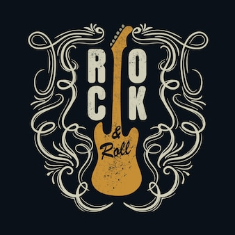 Vintage rock and roll typograficzne na t-shirt