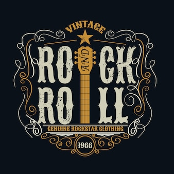 Vintage rock and roll typograficzne na t-shirt.