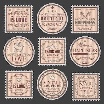 Vintage romantyczne kolorowe znaczki z miłosnymi napisami eleganckie ramki ładne winiety