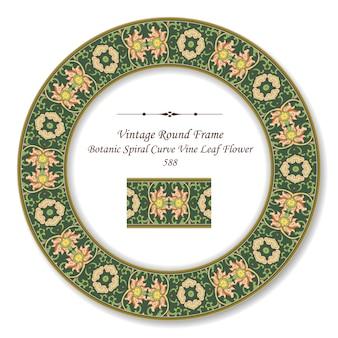 Vintage round retro frame 588 botanic spiral curve vine leaf flower