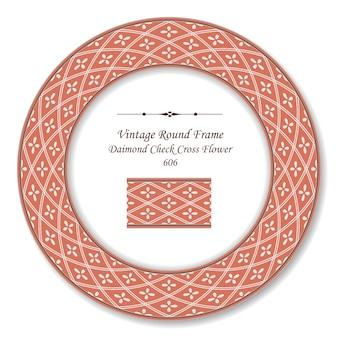 Vintage round retro frame diamond check cross line flower, styl antyczny