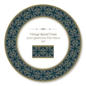 Vintage round retro frame krzywa spiralna krzyż winorośli kwiat, styl antyczny