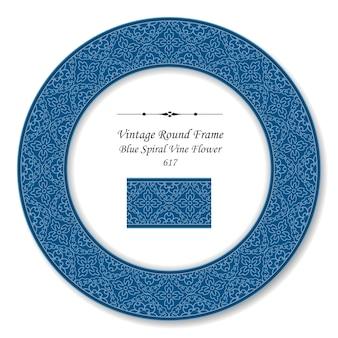 Vintage round retro frame spirala krzywa krzyż winorośli kwiat, styl antyczny
