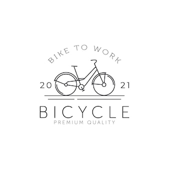 Vintage rowerów minimalistyczna linia sztuki odznaka ikona logo szablon wektor ilustracja projektu. prosty rower retro, cykl, koncepcja logo emblematu pojazdów