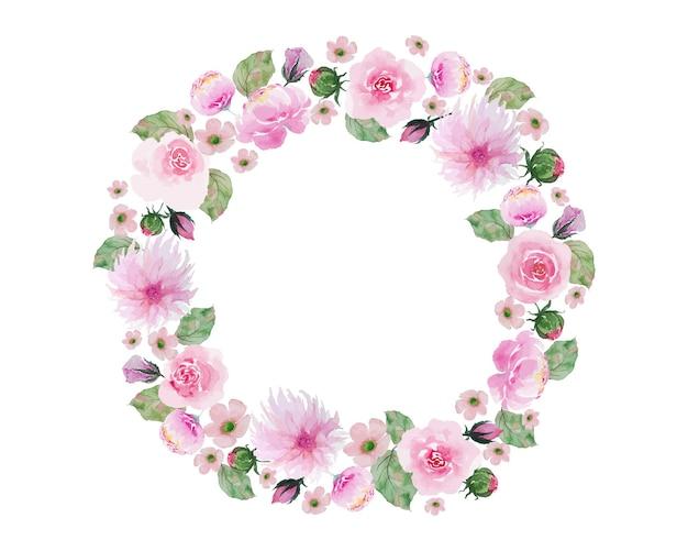 Vintage różowe kwiaty z zielonymi liśćmi koło ramki akwarela ręcznie malowanie