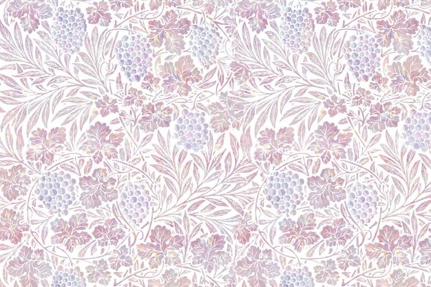 Vintage różowy kwiatowy holograficzny remiks z grafiki autorstwa williama morrisa