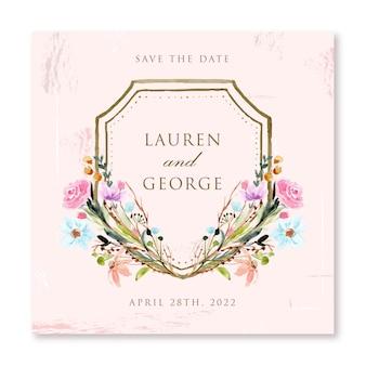 Vintage różowy zapisz datę z akwarelą w kwiecistej ramce
