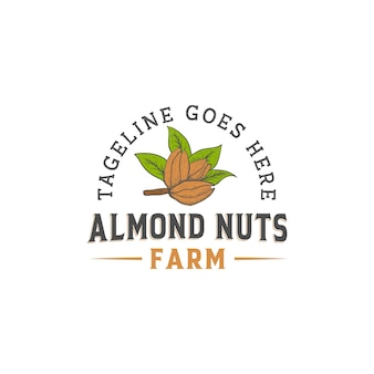 Vintage rustykalne retro logo orzechów migdałowych farmy z ręcznie rysowanym stylem