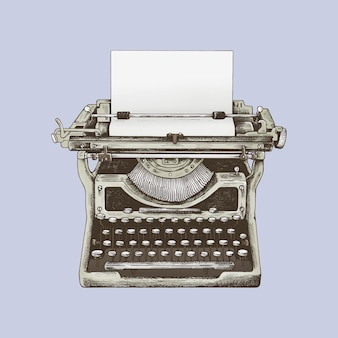 Vintage rysunek mechanicznej maszyny do pisania
