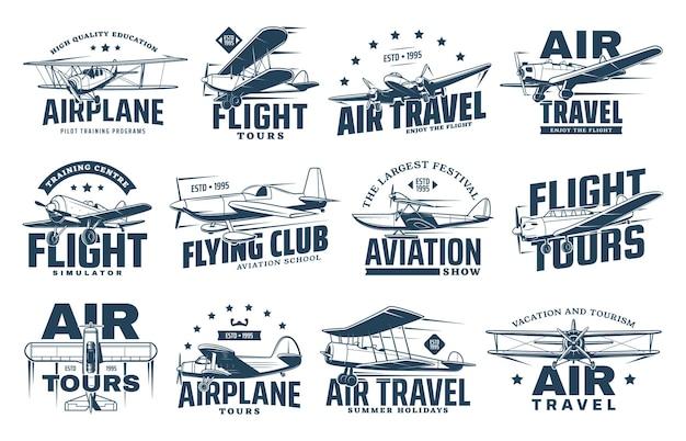 Vintage samolot na białym tle ikony podróży lotniczych