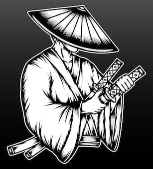 Vintage samuraj ronin na czarnym tle
