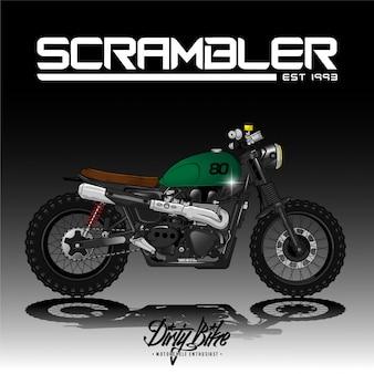 Vintage scrambler motocykl plakat wektor premium