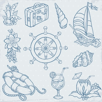 Vintage sea travel doodle elementy