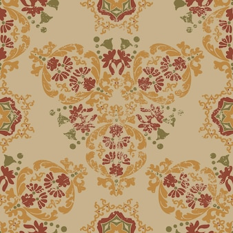 Vintage shabby wiktoriański wzór kwiatowy bezszwowy wzór wektorowy z grunge i zadrapaniami