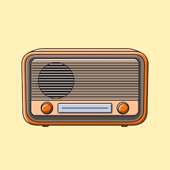 Vintage słodkie radio ilustracja kreskówka