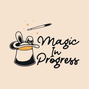 Vintage slogan typografia magia w toku przy projektowaniu koszulek